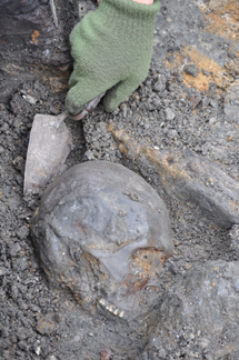 Another skull is being unearthed at the site at Kanaljorden