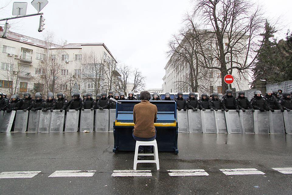Pianist Facing The Riot Police: Demonstration in Kiev, Ukraine