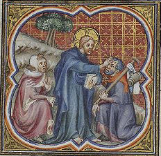 1372 Jesus healing a leper by Illustrator of Petrus Comestor's 'Bible Historiale', France